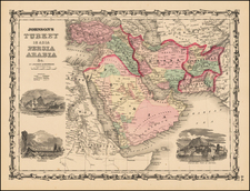 Middle East and Turkey & Asia Minor Map By Alvin Jewett Johnson  &  Browning