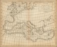 Europe, Europe and Mediterranean Map By John Senex / Edmund Halley / Nathaniel Cutler