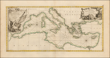 Mediterranean and North Africa Map By Rigobert Bonne / Jean Lattré