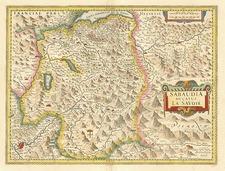 Europe, Switzerland, France and Italy Map By Jodocus Hondius