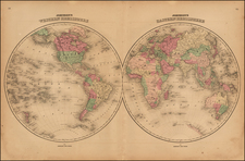 World and World Map By Benjamin P Ward / Alvin Jewett Johnson