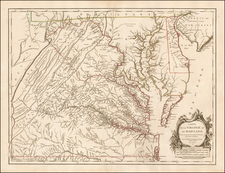 Mid-Atlantic, Southeast and Virginia Map By Gilles Robert de Vaugondy