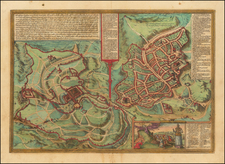 Holy Land and Jerusalem Map By Georg Braun  &  Frans Hogenberg