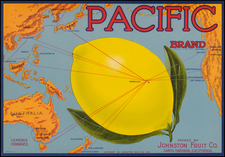 Hawaii, China, Philippines, Pacific, Australia, New Zealand and Hawaii Map By Schmidt Label & Litho. Co.