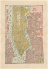 New York City Map By George F. Cram