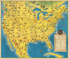 United States Map By Poole Brothers