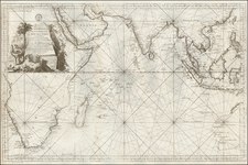 Indian Ocean, India, Southeast Asia, Other Islands, Middle East, South Africa and Australia Map By Jacques Nicolas Bellin