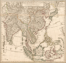China, Japan, Korea, India, Southeast Asia, Philippines and Central Asia & Caucasus Map By Philippe Buache