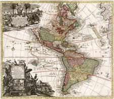 World, Western Hemisphere, South America and America Map By Matthaus Seutter