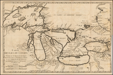 Midwest and Canada Map By Jacques Nicolas Bellin
