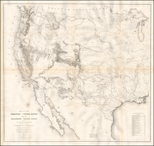 United States, Texas, Midwest, Plains, Southwest, Rocky Mountains and California Map By U.S. Pacific RR Survey