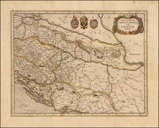 Balkans, Croatia & Slovenia and Serbia Map By Jodocus Hondius