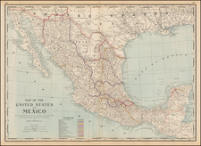 Mexico Map By George F. Cram
