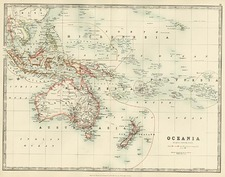 Australia & Oceania and Oceania Map By W. & A.K. Johnston