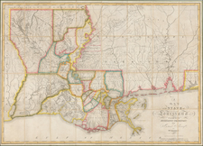 South, Louisiana, Alabama and Mississippi Map By William Darby