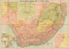 South Africa Map By John Bartholomew