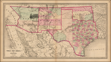 Texas, Plains, Southwest and California Map By Henry S. Stebbins