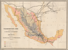 Texas, Southwest and Mexico Map By United States Treasury Department