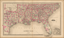 South, Southeast and Texas Map By Henry S. Stebbins