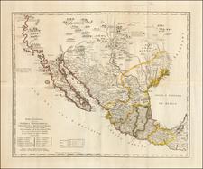 Texas, Plains, Southwest, Rocky Mountains, Mexico, Baja California and California Map By Jose Antonio de Alzate y Ramirez