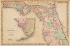 Florida Map By G.W.  & C.B. Colton