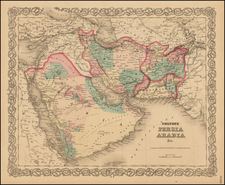 Central Asia & Caucasus and Middle East Map By Joseph Hutchins Colton