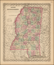 Mississippi Map By G.W.  & C.B. Colton