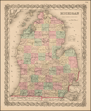 Michigan Map By Joseph Hutchins Colton