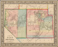 Southwest and California Map By Samuel Augustus Mitchell Jr.