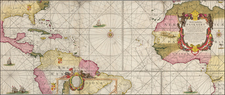 Atlantic Ocean, Mid-Atlantic, Florida, Caribbean, South America, Brazil, West Africa and America Map By Johannes Van Keulen