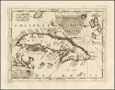 Caribbean and Cuba Map By Vincenzo Maria Coronelli