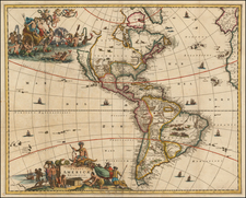 Western Hemisphere, South America, New Zealand and America Map By Jacob Van Meurs