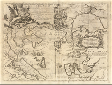 Greece, Turkey and Turkey & Asia Minor Map By Vincenzo Maria Coronelli