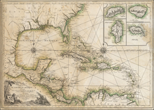Florida, South, Southeast, Texas, Southwest, Caribbean and Central America Map By Louis Denis
