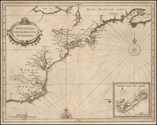 New England, New York State, Mid-Atlantic, Southeast and Bermuda Map By Joannes De Laet