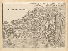 New England, Maine and Canada Map By Giovanni Battista Ramusio / Giacomo Gastaldi