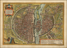 France and Paris Map By Georg Braun  &  Frans Hogenberg