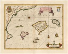 Spain and Balearic Islands Map By Willem Janszoon Blaeu