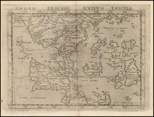 India and Southeast Asia Map By Girolamo Ruscelli