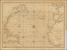 Atlantic Ocean and United States Map By John Cary