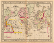 World and World Map By Samuel Augustus Mitchell Jr.