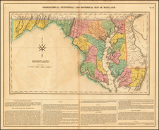 Geographical, Statistical and Historical Map of  Maryland By Henry Charles Carey  &  Isaac Lea