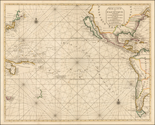 Pacific Ocean, Pacific, Australia, New Zealand, California and America Map By Pieter Mortier