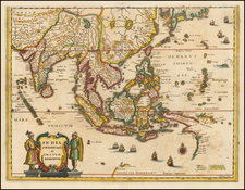 China, India, Southeast Asia, Philippines, Australia and Oceania Map By Matthaus Merian