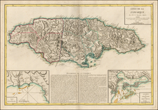 Caribbean and Jamaica Map By Jean Lattre