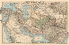 India, Central Asia & Caucasus and Middle East Map By G.W.  & C.B. Colton