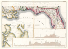 Florida and South Map By Guillaume-Tell Poussin