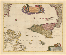 Italy and Southern Italy Map By Nicolaes Visscher I