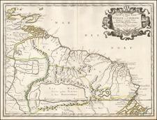 Guianas & Suriname and Venezuela Map By Nicolas Sanson