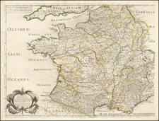 France Map By Melchior Tavernier / Nicolas Sanson